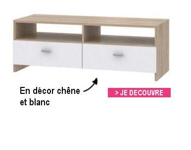 Finlandek meuble tv helppo contemporain blanc l 95 cm achat vente meubl - Meuble tv cdiscount blanc ...
