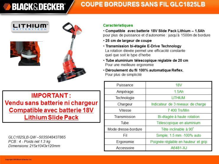 Black decker coupe bordure sans fil 18v achat vente - Batterie pour coupe bordure black et decker ...