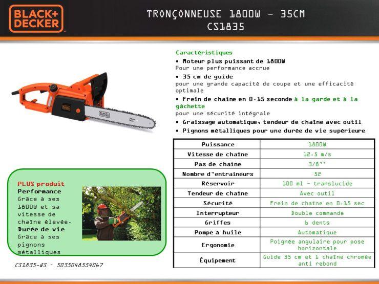 destockage black & decker tronçonneuse électrique cs1835 1800w