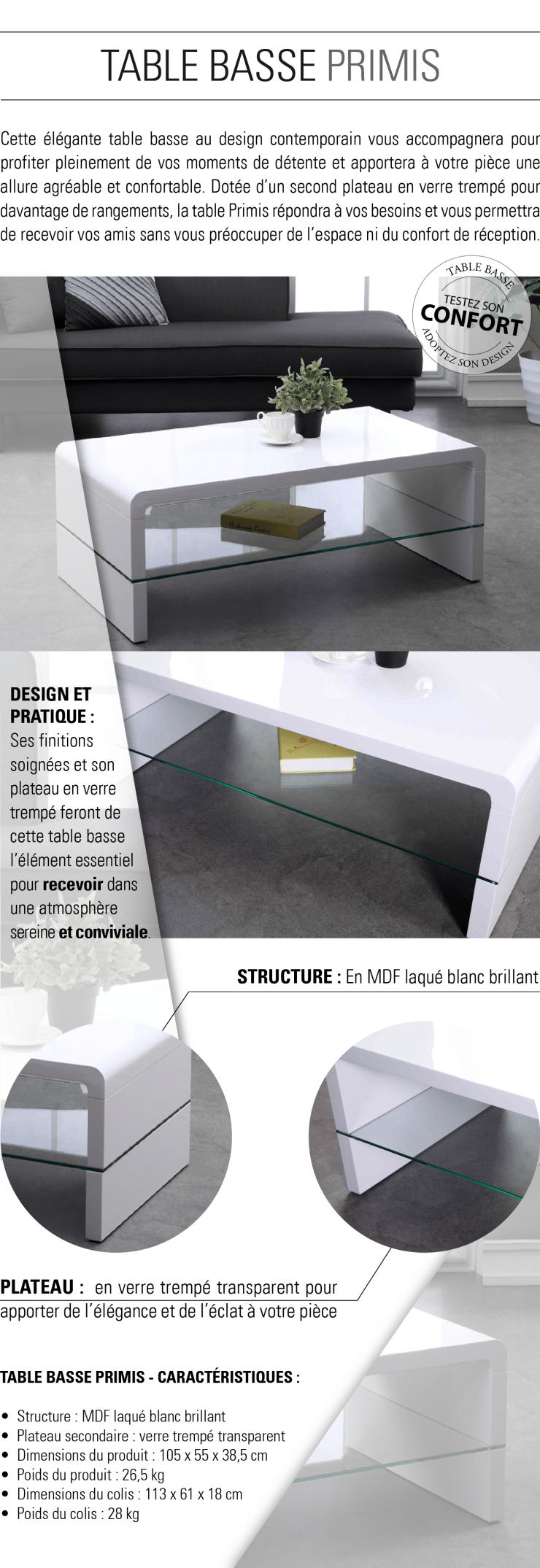 énorme réduction fbc1e 5fb78 PRIMIS Table basse contemporain laqué blanc 105x55cm
