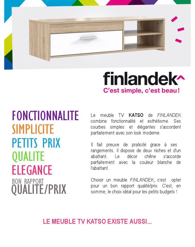 Finlandek meuble tv katso 120cm d cor ch ne sonoma et for Finlandek meuble tv mural katso