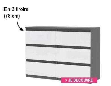 finlandek commode natti 78cm gris et blanc achat vente commode de chambre finlandek commode. Black Bedroom Furniture Sets. Home Design Ideas