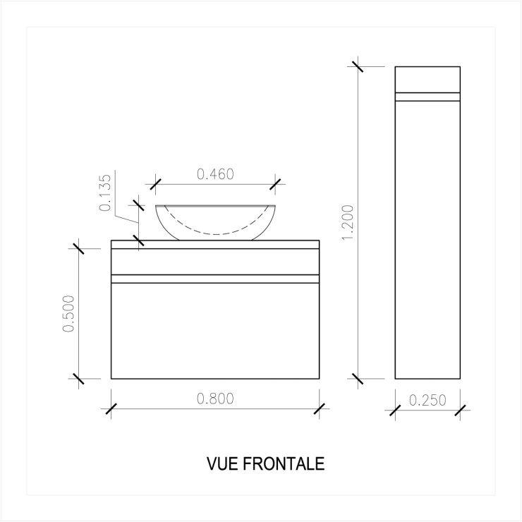 LUNA Ensemble salle de bain simple vasque L 80 cm - Décor oak sonoma ...