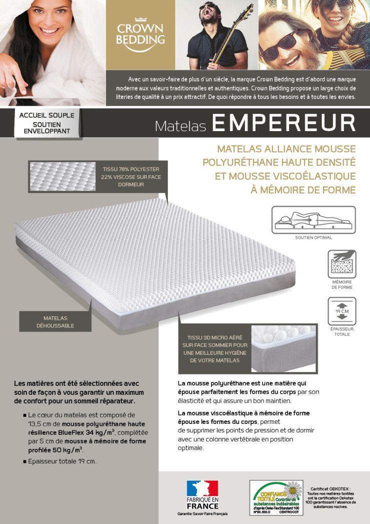 Crown Bedding Matelas Empereur 140x190 Cm Mousse Equilibré 34