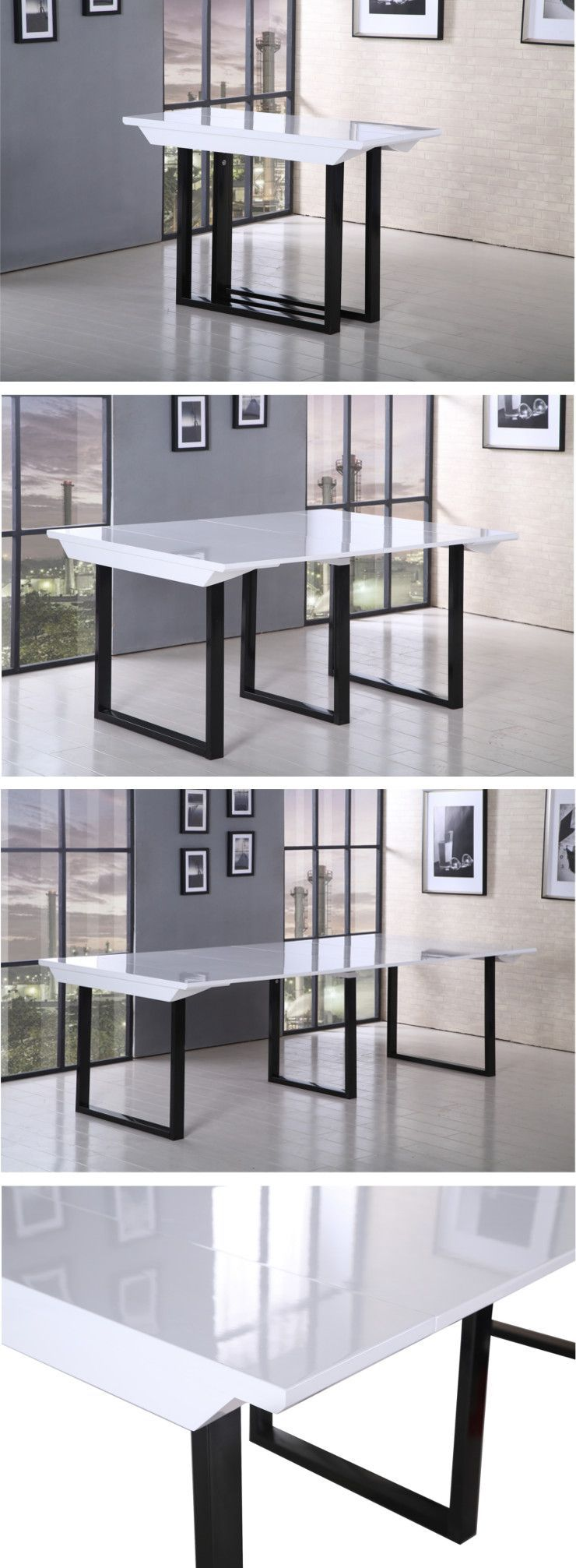 back table console extensible 120x50 250cm noir et blanc laqu achat vente console. Black Bedroom Furniture Sets. Home Design Ideas