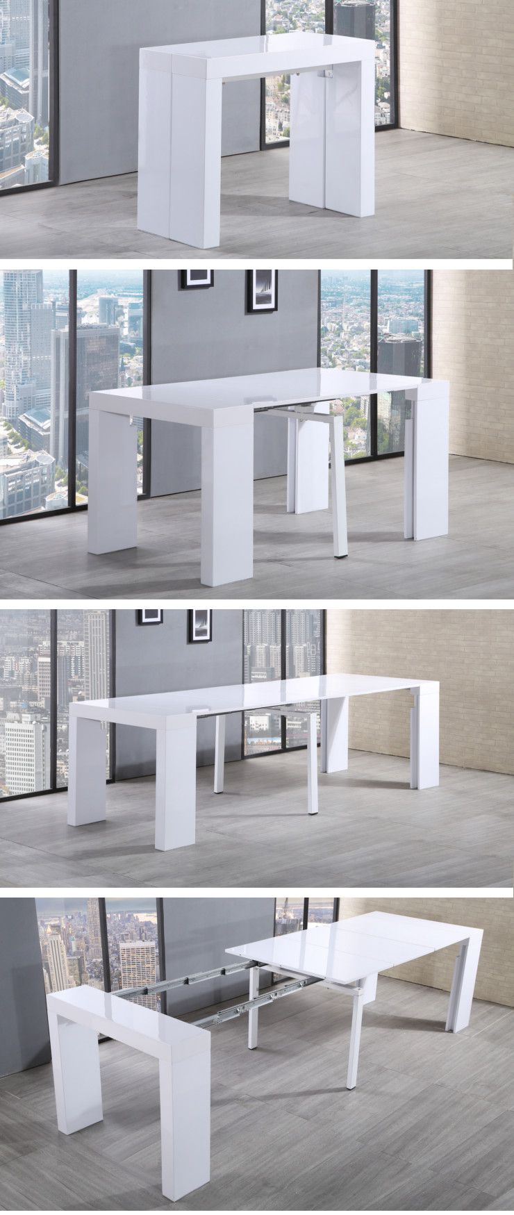 Zack table console extensible 45 300x90cm blanc laqu for Table cuisine 6 personnes