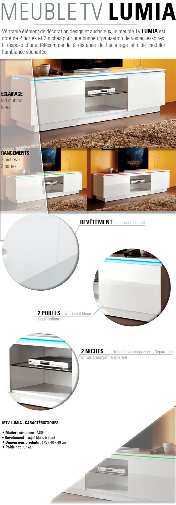 Lumia Meuble Tv Avec Clairage Led Multicolore 175×40 Cm Blanc  # Eclairage Led Pour Meuble Tv