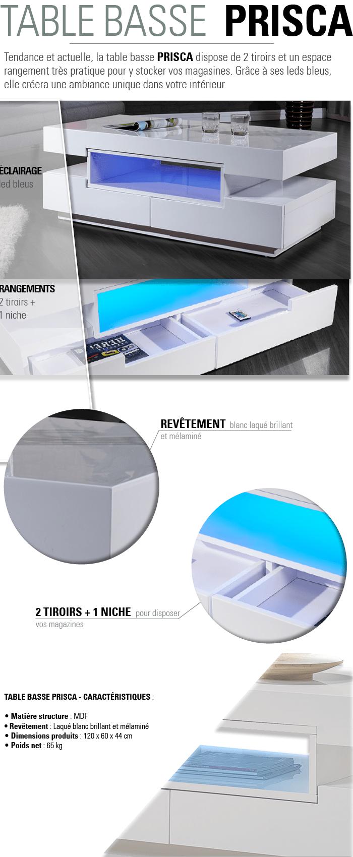 Luxus Table Basse Avec Led Id Es De Conception De Table Basse # Table Basse Blanc Avec Lampe Led
