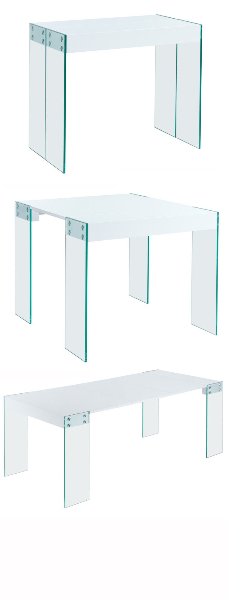 Crea console extensible 200cm laqu blanc brillant achat for Table extensible 2 a 8 personnes
