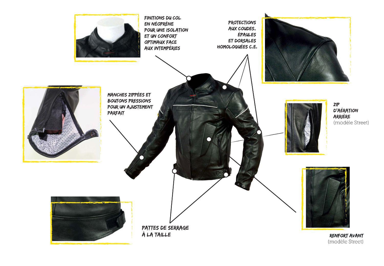 blouson moto cuir vintage protections ce achat vente. Black Bedroom Furniture Sets. Home Design Ideas