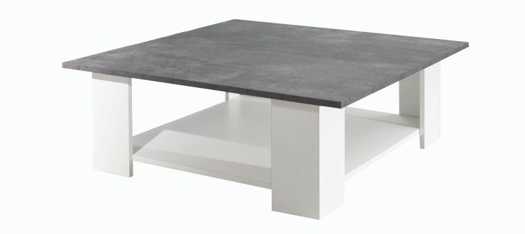 Lime table basse carr e style contemporain m lamin e blanc - Table basse carre blanche ...