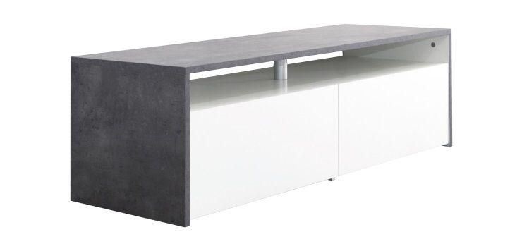 MEGA Meuble TV 119 cm - Blanc et décor béton - Achat ...