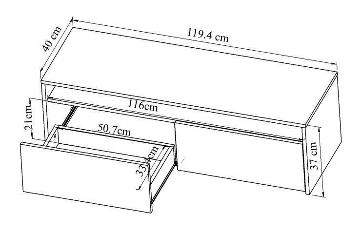 Mega meuble tv 119 cm blanc et d cor b ton achat for Mega muebles