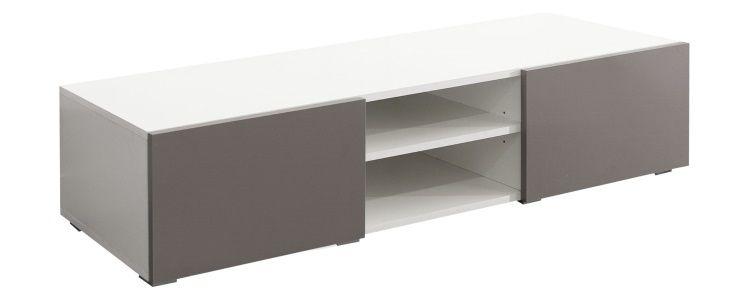 LIME Meuble TV contemporain blanc et taupe  L 140 cm  Achat  Vente meuble  -> Meuble Tv Laqué Gris Taupe Modena