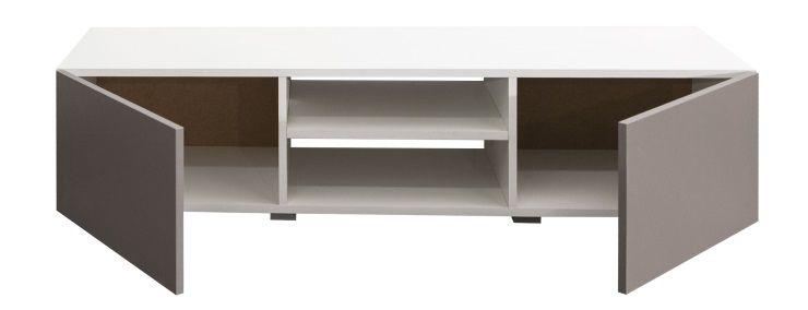lime meuble tv contemporain blanc et taupe l 140 cm achat vente meuble tv lime meuble tv. Black Bedroom Furniture Sets. Home Design Ideas
