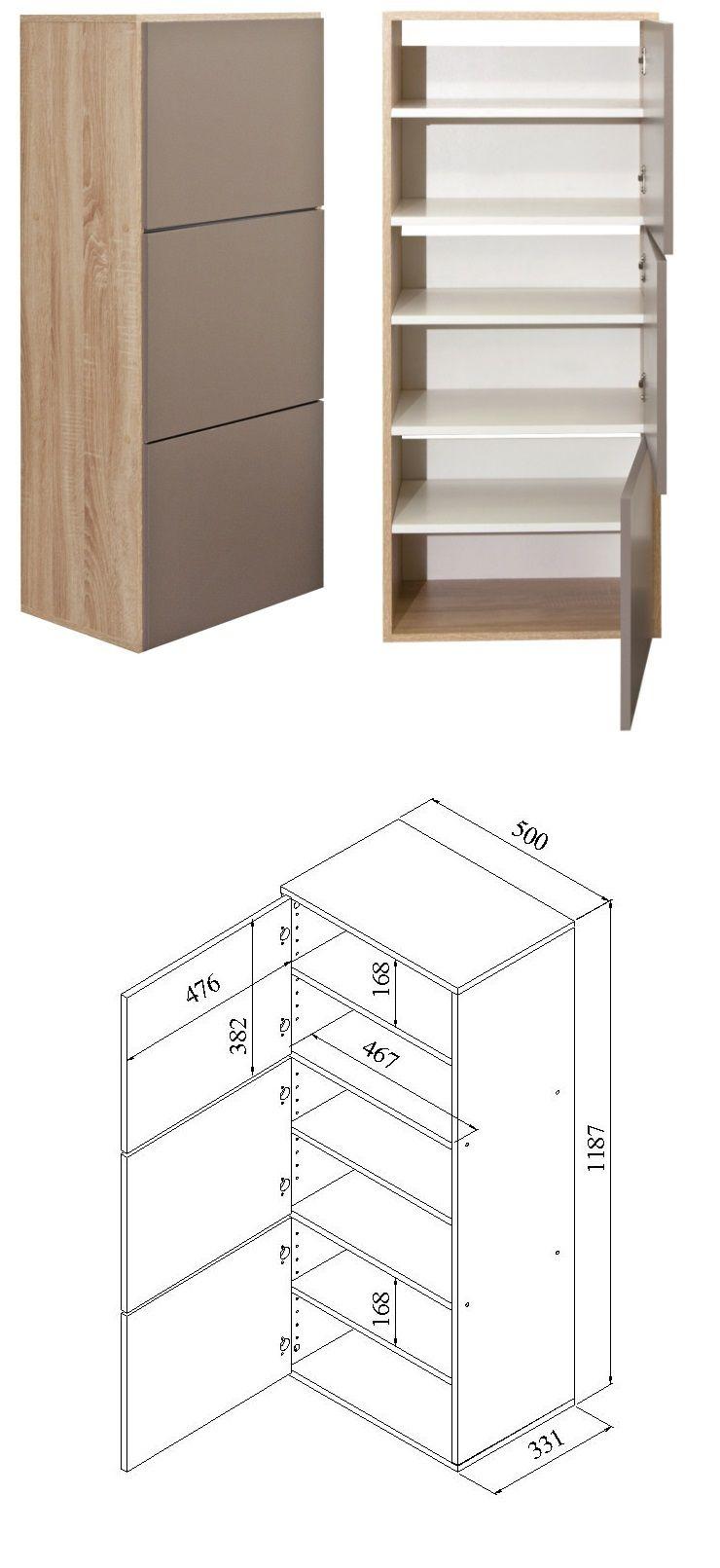 shoes meuble chaussures 50 cm d cor ch ne naturel et taupe achat vente meuble chaussures. Black Bedroom Furniture Sets. Home Design Ideas