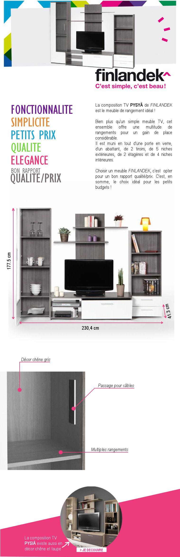 Finlandek meuble tv mural pysy 230 cm d cor ch ne gris for Finlandek meuble tv mural katso