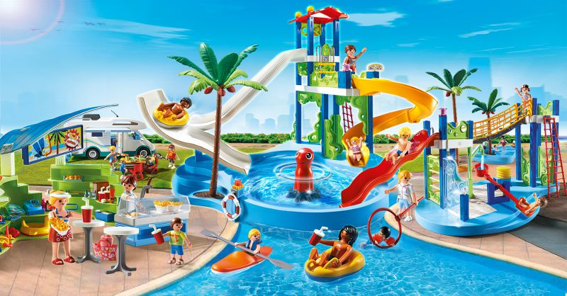 Playmobil 6669 parc aquatique piscine avec toboggans for Piscine de playmobil