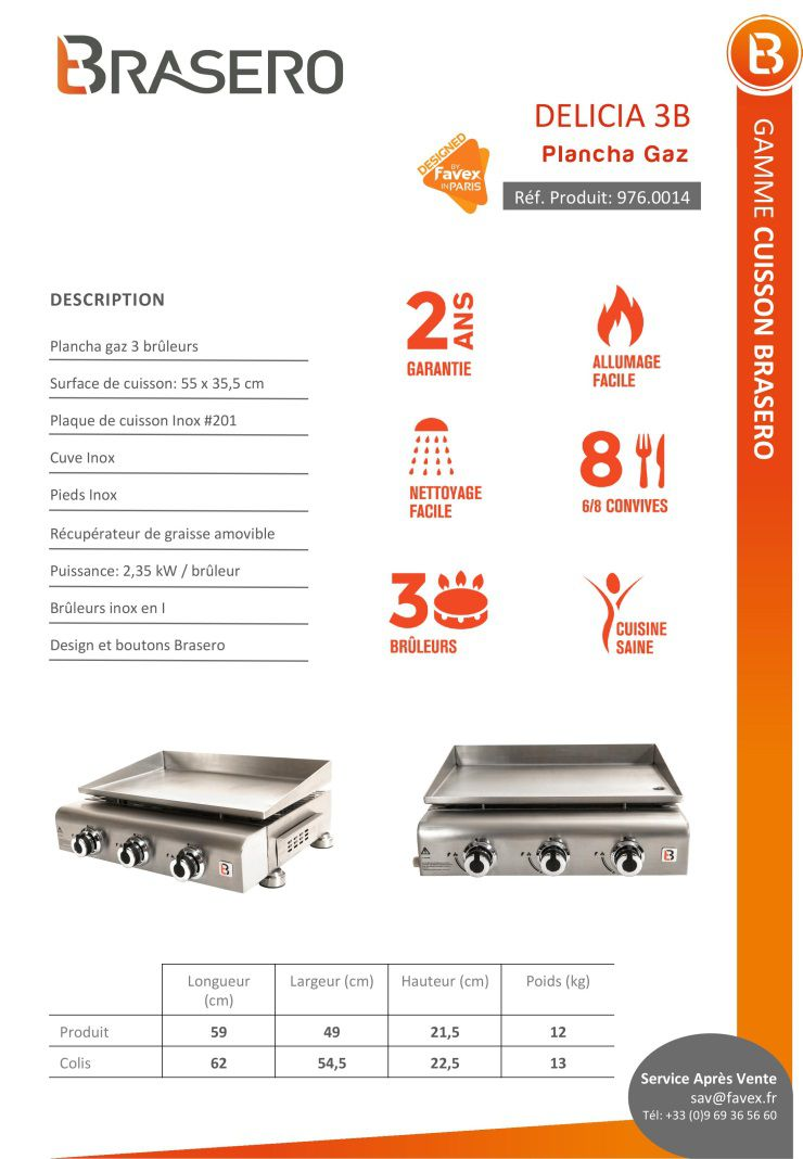 brasero plancha gaz delicia 3 feux poser inox 59x49x21 5 cm achat vente plancha. Black Bedroom Furniture Sets. Home Design Ideas