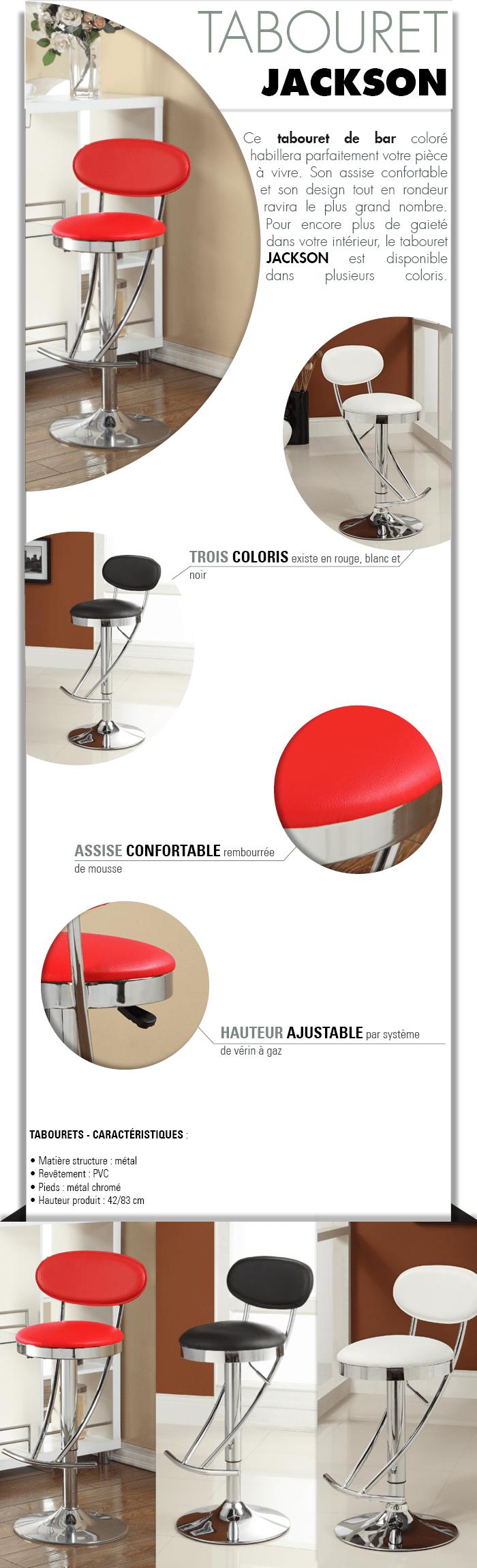 tabouret de bar jackson. Black Bedroom Furniture Sets. Home Design Ideas