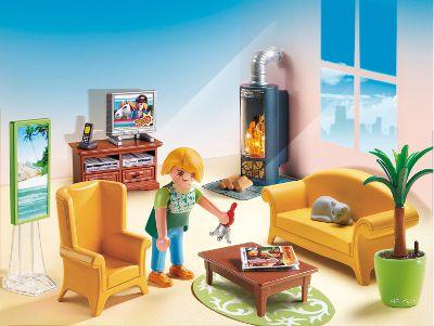 Playmobil 5308 salon avec po le bois achat vente for Salon playmobil