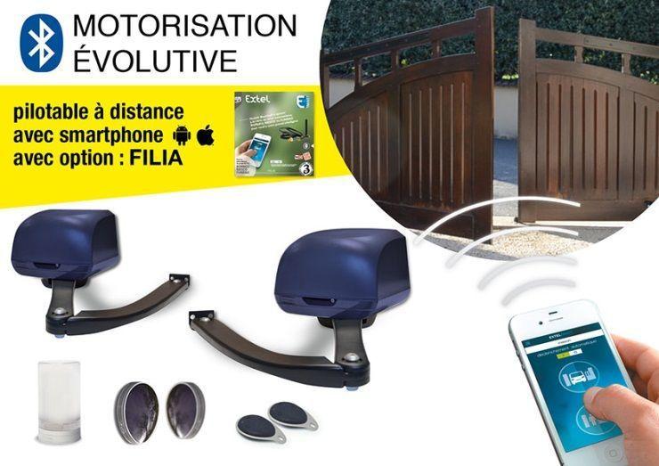 extel kit complet de motorisation de portail bras 2 vantaux pouvant tre connect e borneo. Black Bedroom Furniture Sets. Home Design Ideas