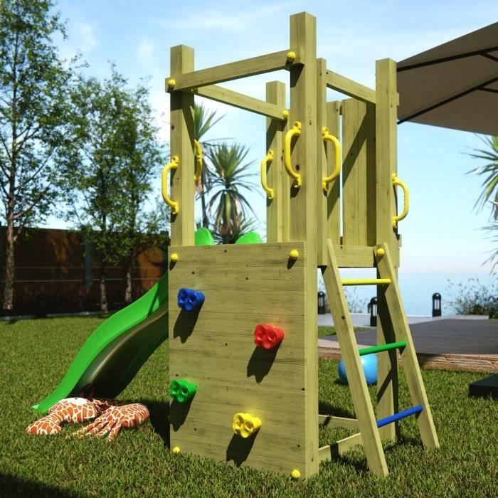 aire de jeux funny avec toboggan et mur d 39 escalade pour enfants achat vente station de jeux. Black Bedroom Furniture Sets. Home Design Ideas