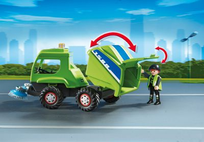 6112 agent avec balayeuse de voirie de playmobil for Balayeuse robot piscine
