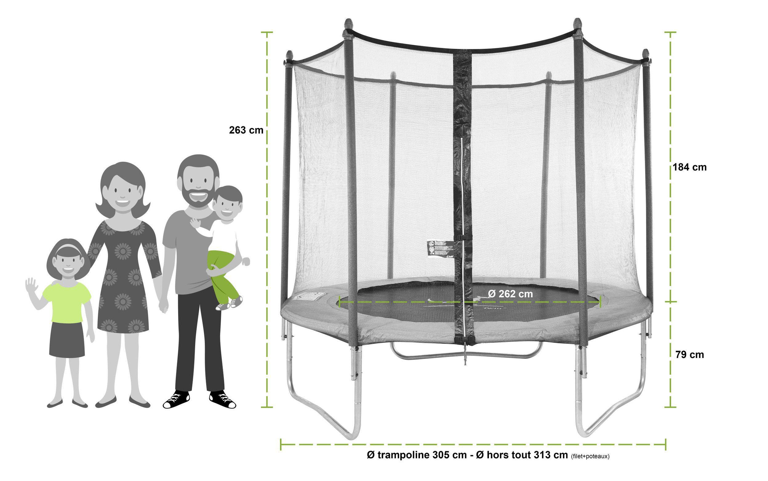 kangui trampoline twin 305cm avec filet chelle couverture de protection achat vente. Black Bedroom Furniture Sets. Home Design Ideas