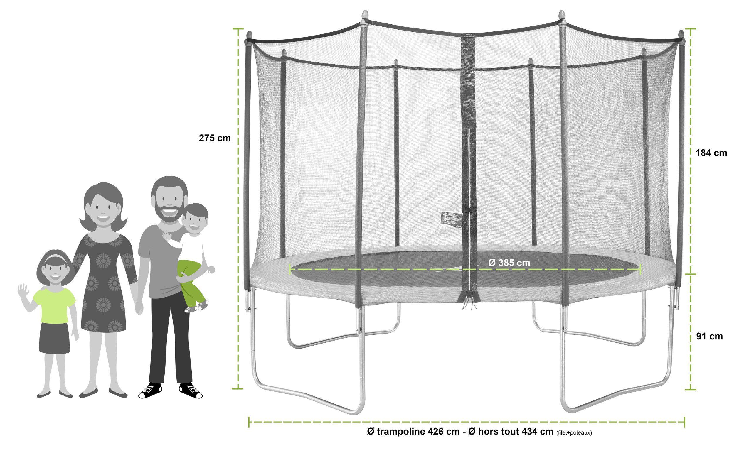 Kangui mega pack trampoline 426 cm avec accessoires twin duo vert echelle c - Filet de protection trampoline 244 ...