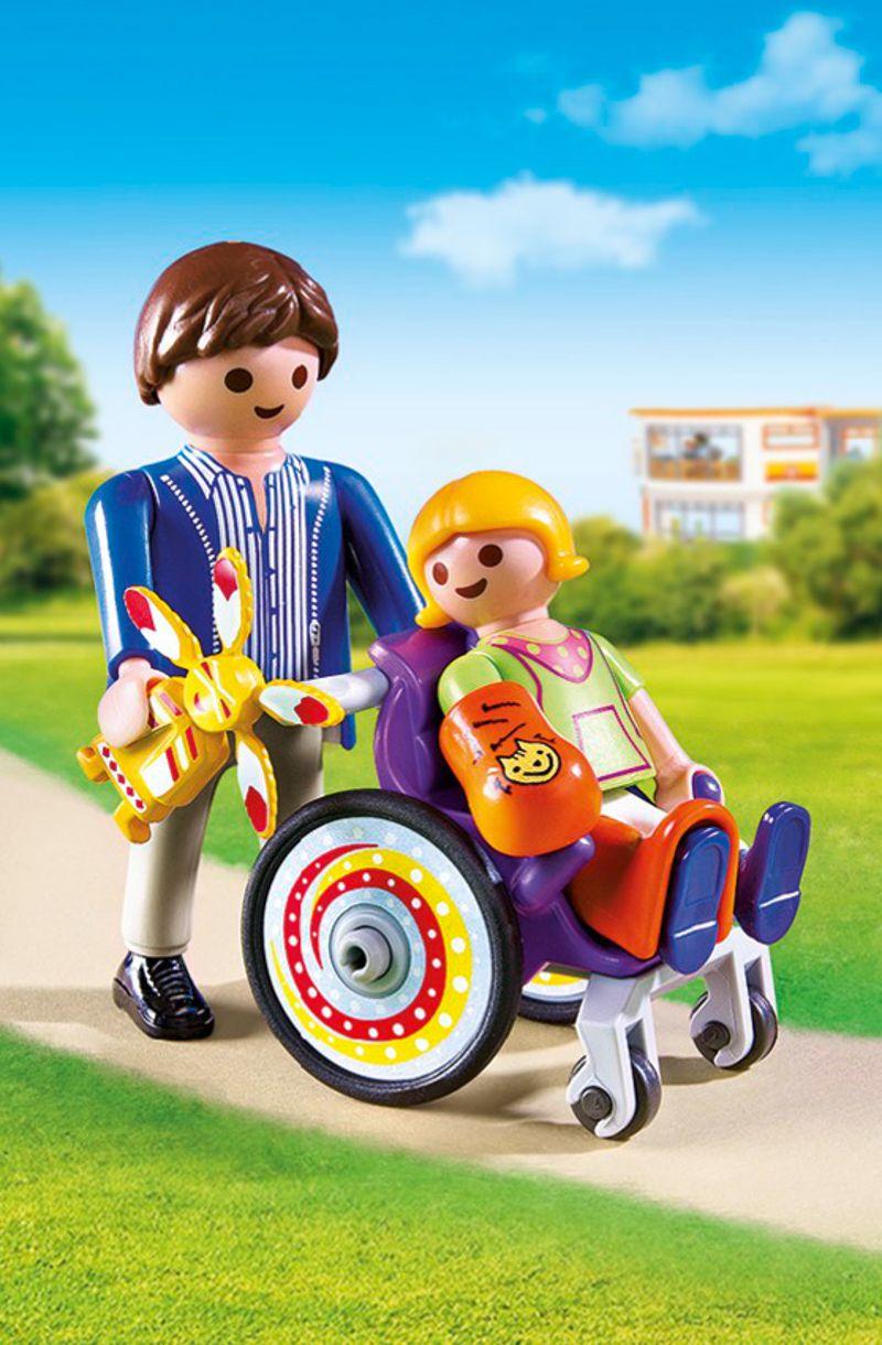 Playmobil 6663 enfant avec fauteuil roulant et papa for Achat chaise roulante