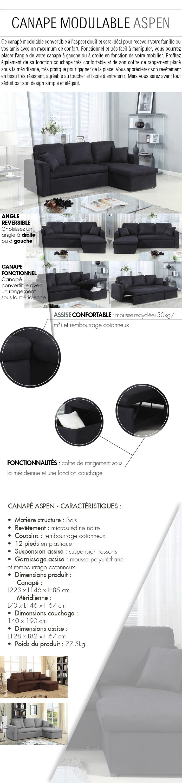 aspen canap d 39 angle r versible convertible 3 places 223x146x85 cm rev tement en tissu. Black Bedroom Furniture Sets. Home Design Ideas