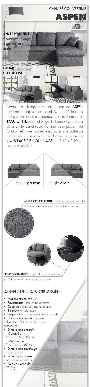 aspen canap d 39 angle r versible convertible 4 places 223x146x85 cm tissu gris achat. Black Bedroom Furniture Sets. Home Design Ideas