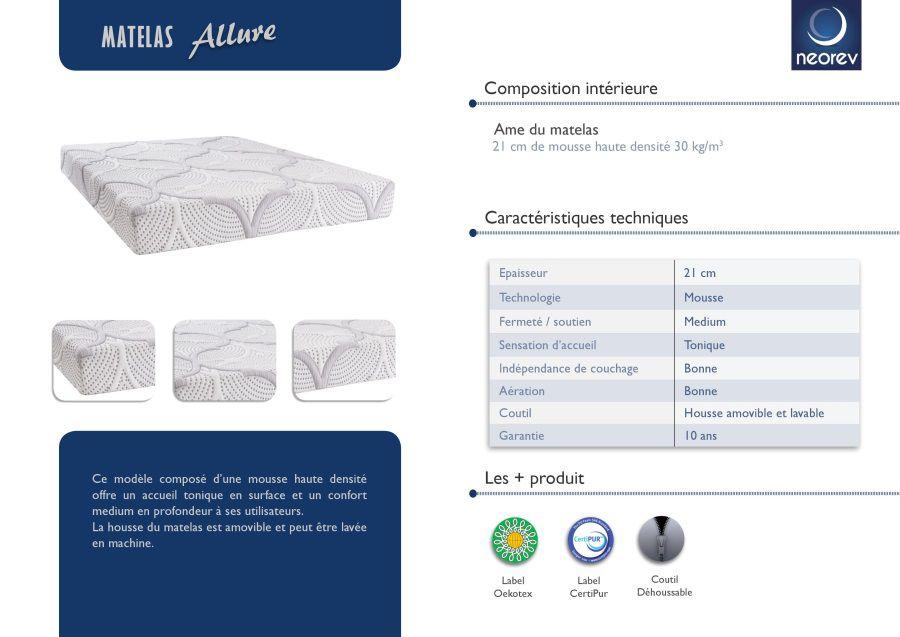 olympe literie matelas 90x190 m moire de forme lavend tech 30kg m3 ferme hemera achat. Black Bedroom Furniture Sets. Home Design Ideas