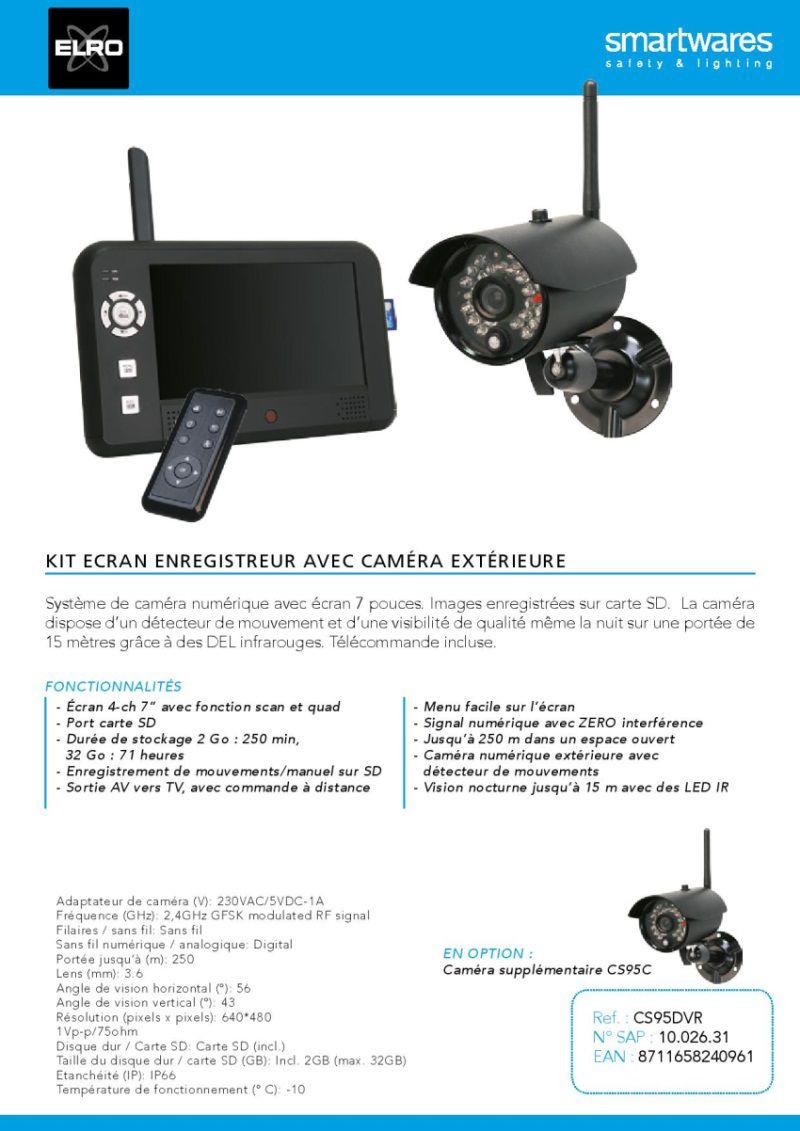 destockage elro kit de surveillance sans fil avec cran enregistreur 7 pouces et cam ra. Black Bedroom Furniture Sets. Home Design Ideas