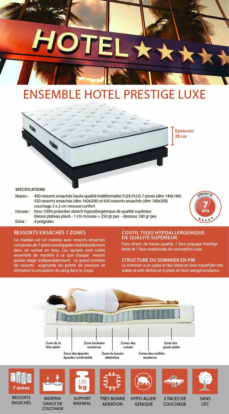 hotel prestige ensemble matelas sommier 160x200 cm ressorts ferme 540 ressorts ensach s. Black Bedroom Furniture Sets. Home Design Ideas