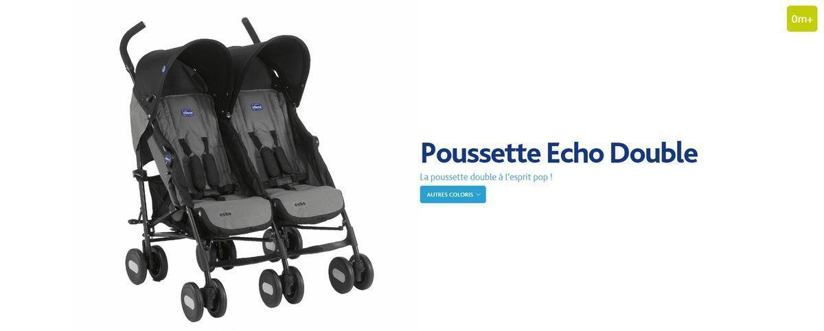 CHICCO Poussette Double Echo Coal - Achat   Vente poussette ... f530a89390dc