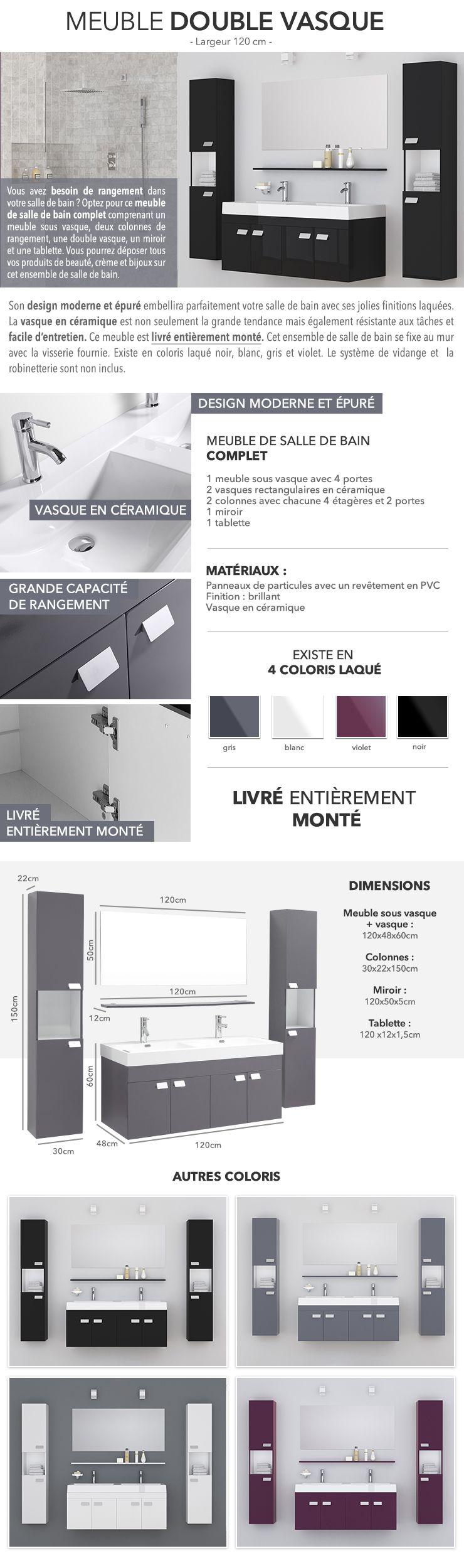 Meuble Salle De Bain Collection Remix Leroy Merlin ~ Alpos Ensemble Salle De Bain Double Vasque Avec Miroir L 120 Cm