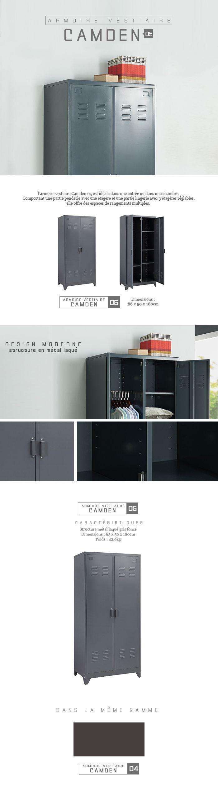 camden armoire vestiaire en m tal 85 cm laqu noir achat vente meuble d 39 entr e camden. Black Bedroom Furniture Sets. Home Design Ideas