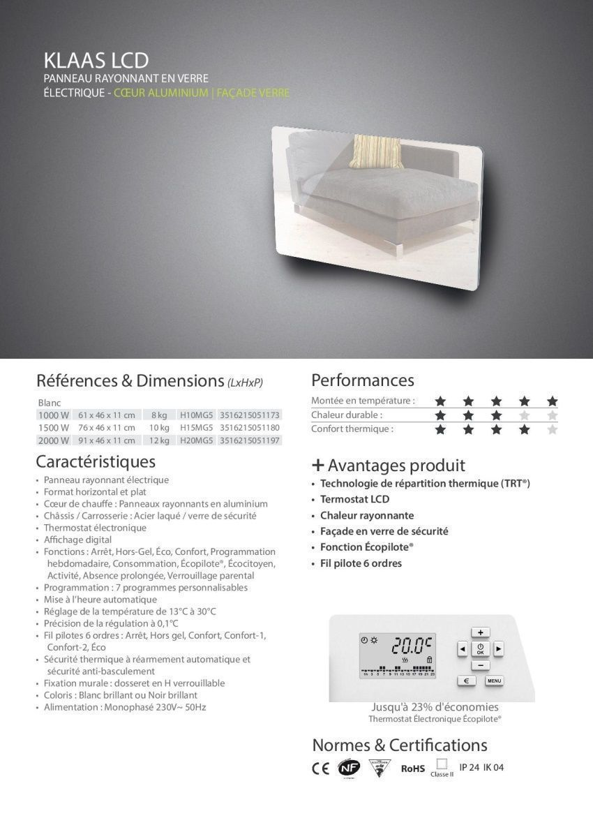cayenne klaas lcd 1000 watts radiateur l ctrique panneau rayonnant programmable fa ade en. Black Bedroom Furniture Sets. Home Design Ideas
