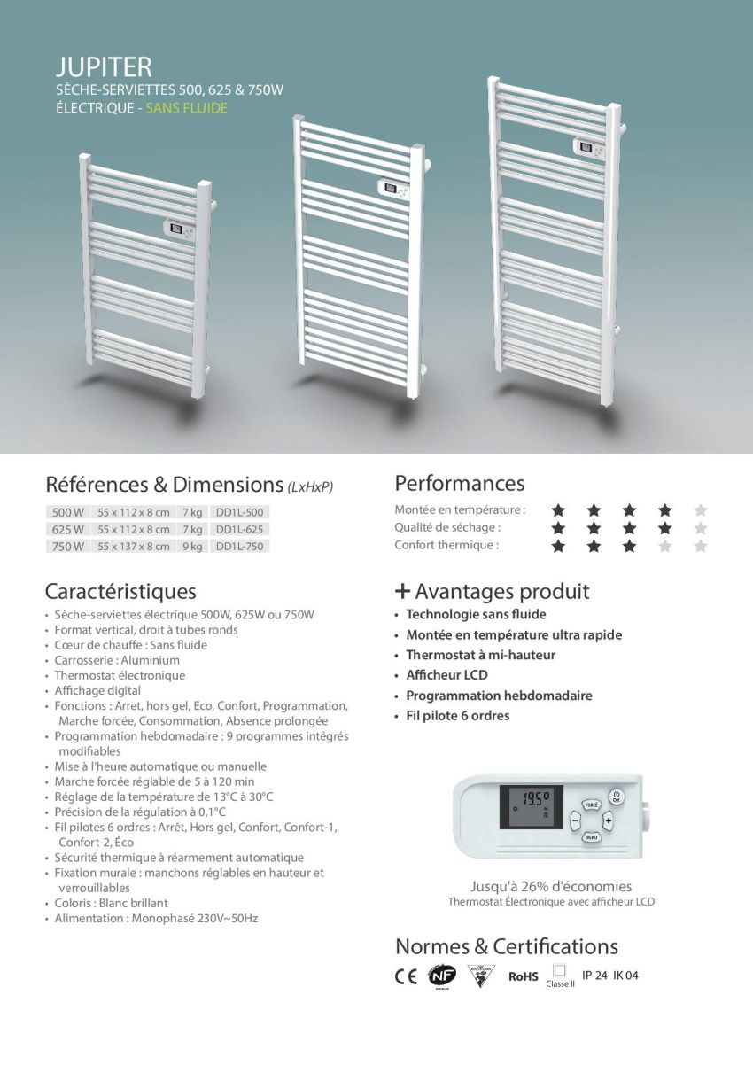 Carrera jupiter lcd 500 watts radiateur s che serviettes lectrique barres - Avis seche serviette ...