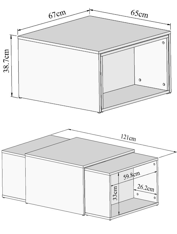 Et Charly Basse Blanc Table Transformable Noir 65121x67 Cm xBWroeCd