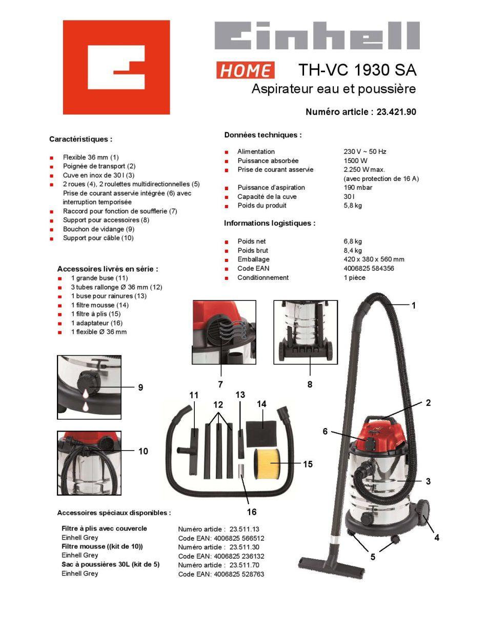 einhell aspirateur eau et poussi re 900w cuve inox 30l. Black Bedroom Furniture Sets. Home Design Ideas