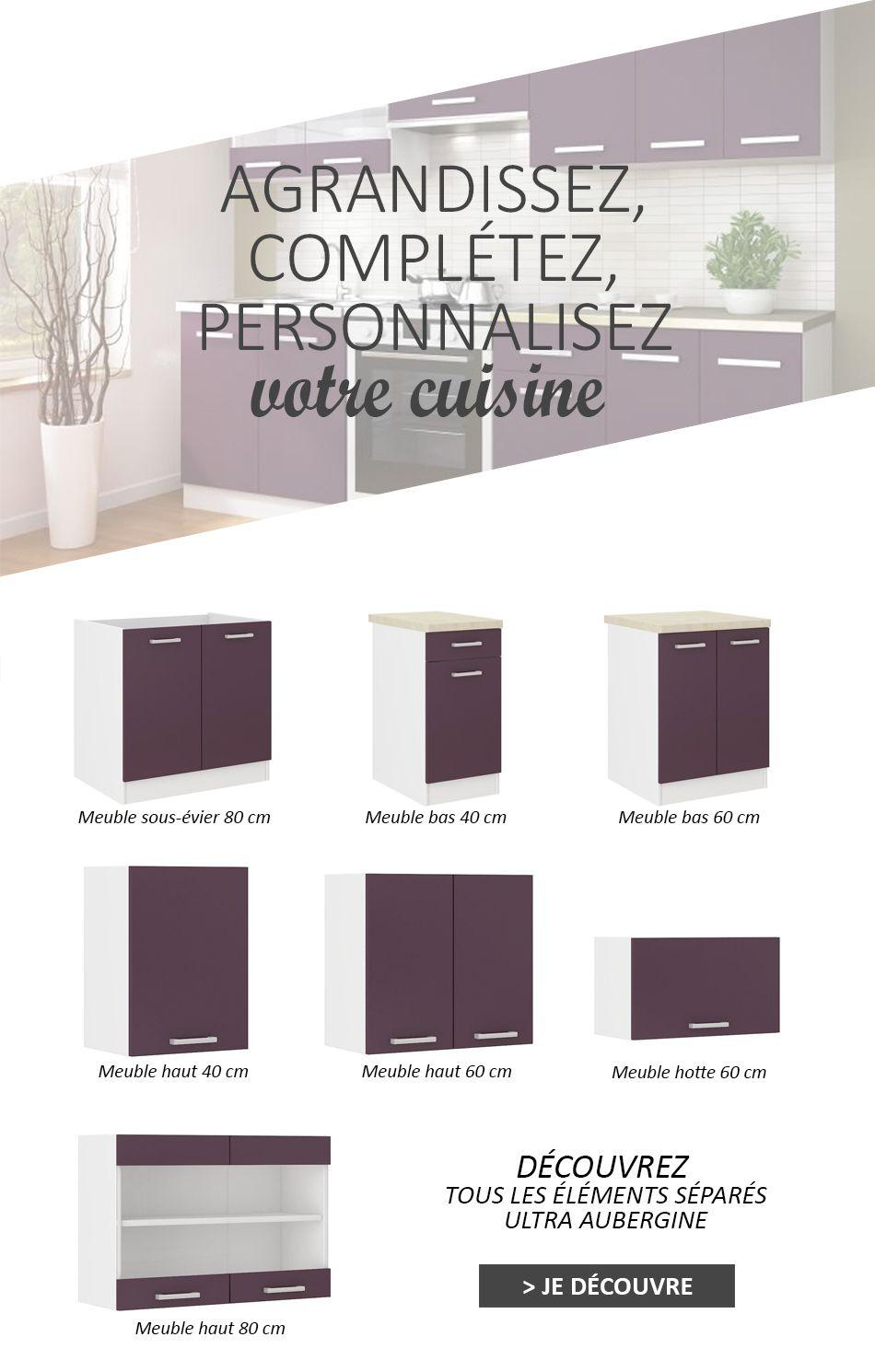 ultra cuisine compl te avec plan de travail l 2m40 aubergine mat achat vente cuisine. Black Bedroom Furniture Sets. Home Design Ideas