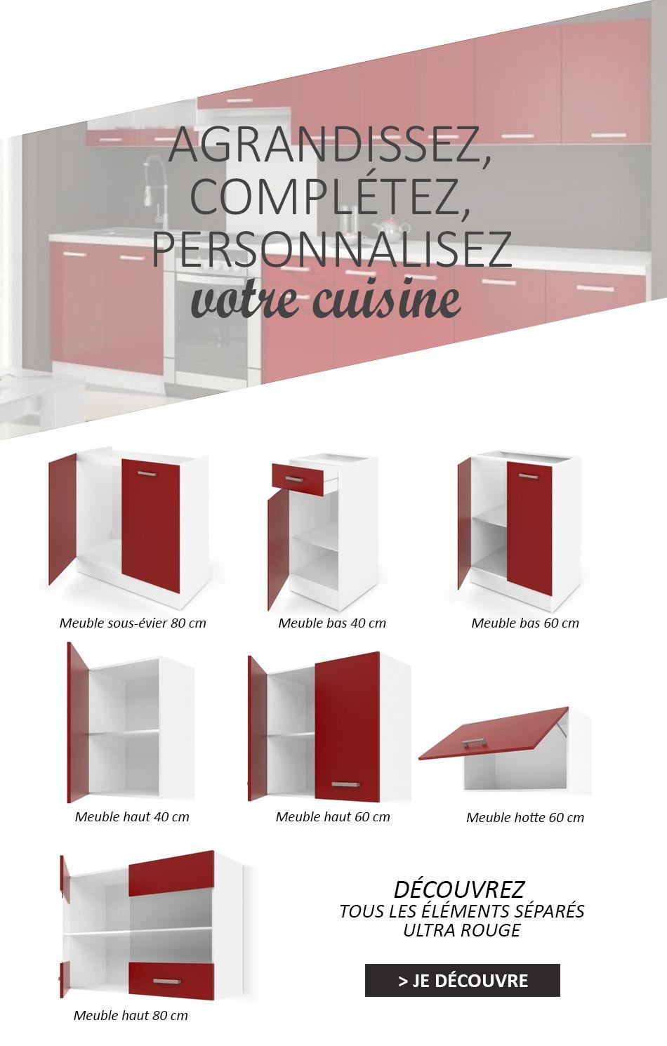 Ultra xxl cuisine compl te l 3m20 rouge mat achat for Cuisine xxl cdiscount