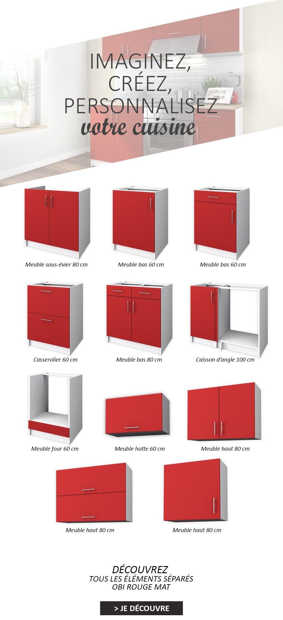 OBI Meuble bas de cuisine L 11 cm - Rouge mat - Achat / Vente