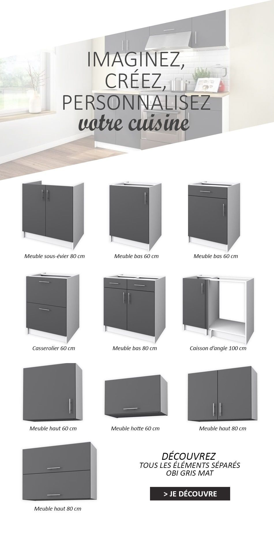 obi meuble de cuisine angle réversible l 100 cm - gris mat - achat