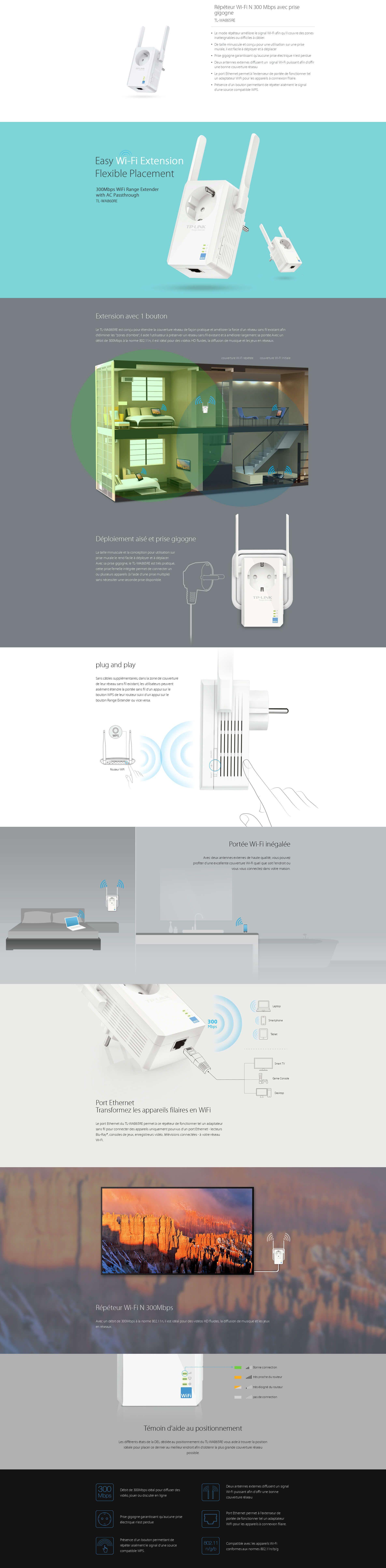 TP-LINK Répéteur Wi-Fi N 300 Mbps avec prise gigogne -WA865RE - Cdiscount  Informatique