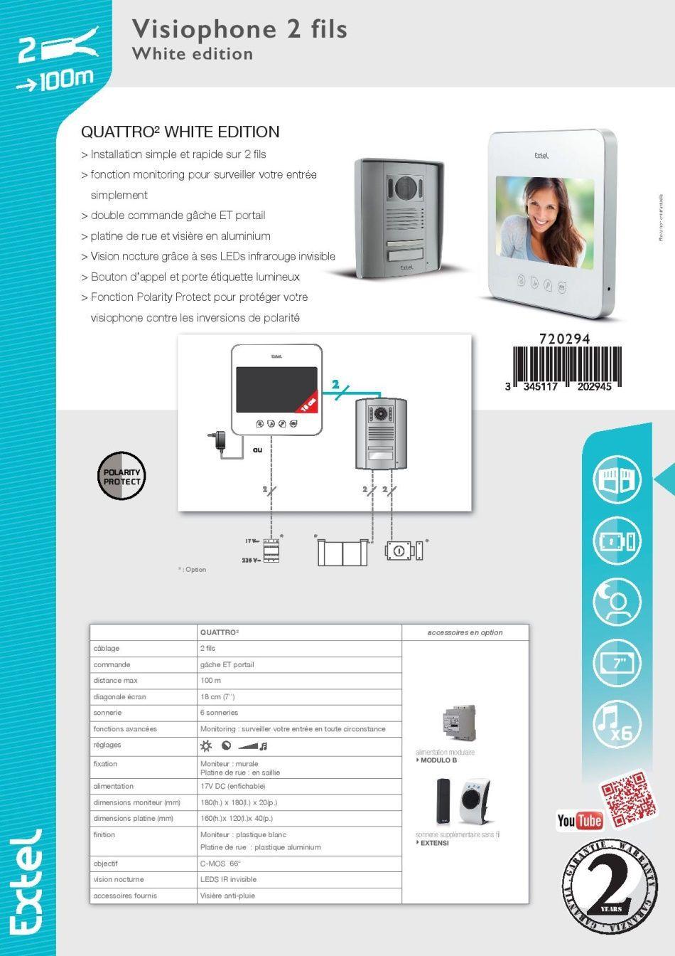 extel interphone vid o couleur 2 fils 7 pouces touches sensitives blanc quattro 2 achat. Black Bedroom Furniture Sets. Home Design Ideas