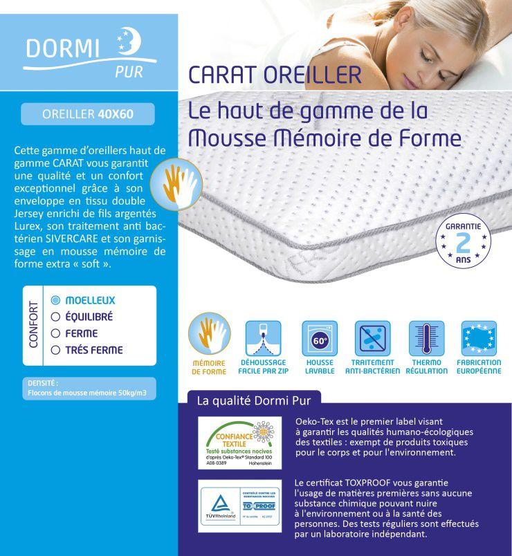 haut de page oreiller DORMIPUR Oreiller mousse à mémoire de forme Carat Luxe confort  haut de page oreiller